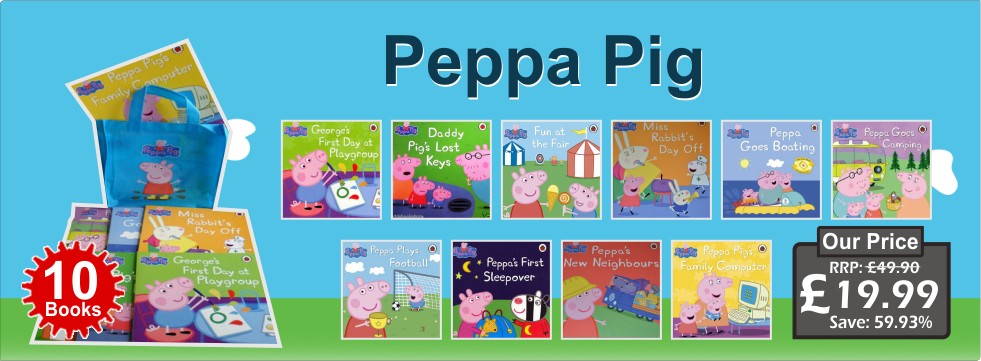 Peppa Pig Collection 10 Books Set in a Bag Children Picture Flat Gift Pack